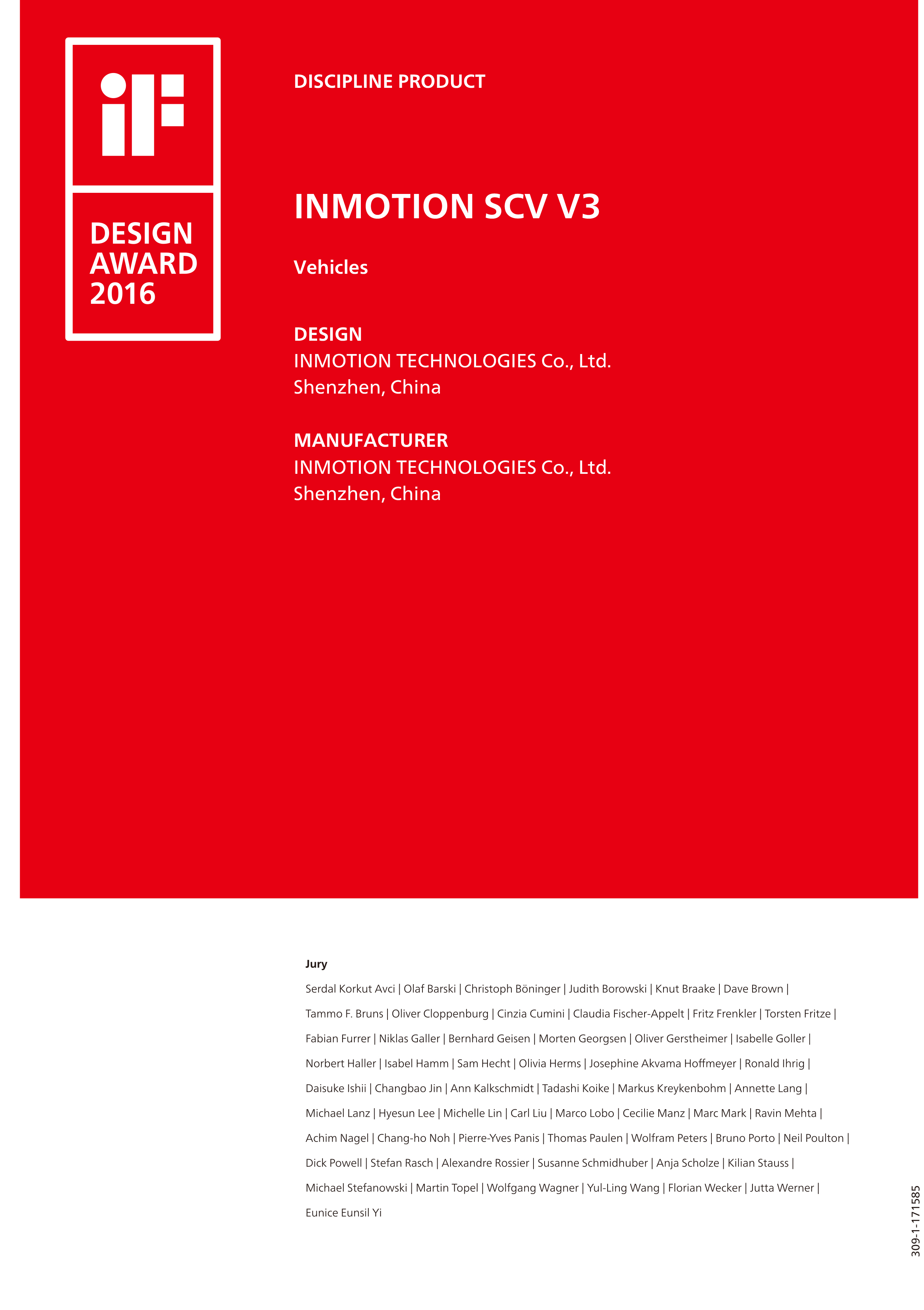 inmotion v3 won iF DESIGN AWARD